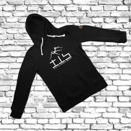 HOODIE (Black) – TIS Logo – Kapuze über Kreuz genäht